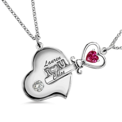 Platinum Plated Gorgeous Mother And Daughter Key to My Heart Birthstone Necklace