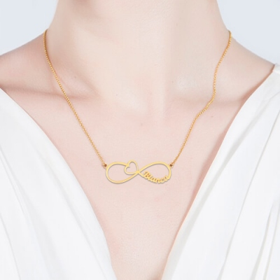 Gold Plated Fancy Arrow Heart Infinity Name Necklace
