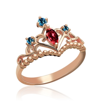 Rose Gold Gorgeous Birthstone Tiara Ring