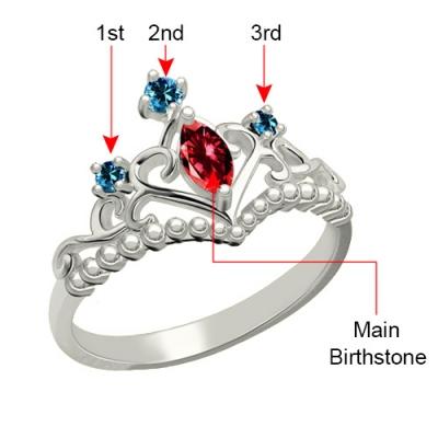 Platinum Plated Glorious Birthstone Tiara Ring