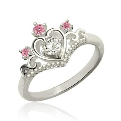 Platinum Plated Ingenious Birthstone Princess Tiara Ring