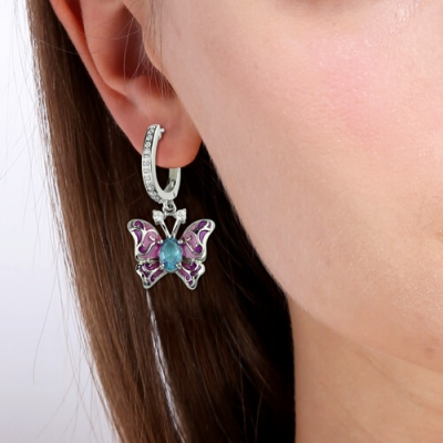 Platinum Plated Characteristic Birthstones Butterfly Earring