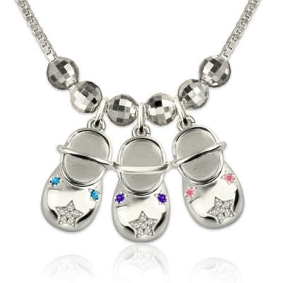 Flowery Birthstones Engraved Baby Shoes Charms Necklace