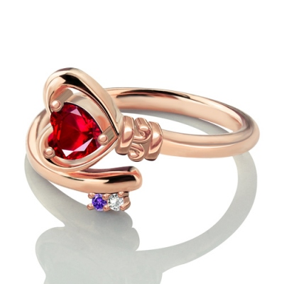 Rose Gold Exquisite Key to Her Heart Ring with Birthstones