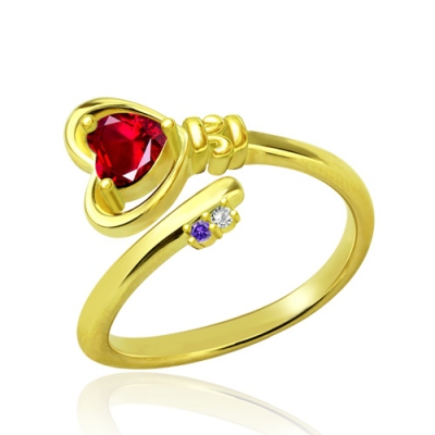 Gold Plated Luxurious Key to Her Heart Ring with Birthstones