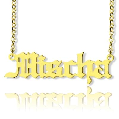 10k 14k 18k Solid Gold Surprising Mischa Barton Old English Font Name Necklace