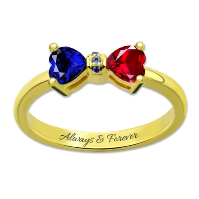 Gold Plated Likable Personalized Heart Birthstones Bow Ring