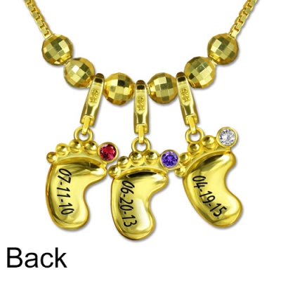 Gold Plated Lively Engraved 3D Baby Feet Birthstone Name Necklace