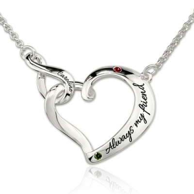 Platinum Plated Breathtaking Infinity Love Heart Birthstones Necklace
