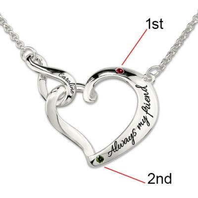 Platinum Plated Breathtaking Infinity Love Heart Birthstones Necklace