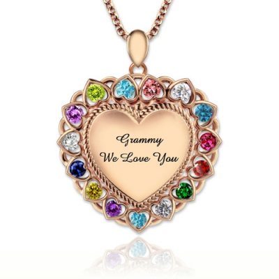 Rose Gold Bewitching Heart Birthstones Necklace for Grandma