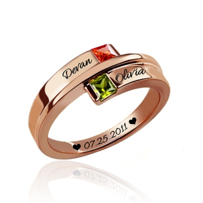 Rose Gold Twinkling Engraved Double Square Birthstones Name Ring