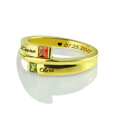 Gold Plated Unequalled Engraved Square Memorial Birthstones Name Ring