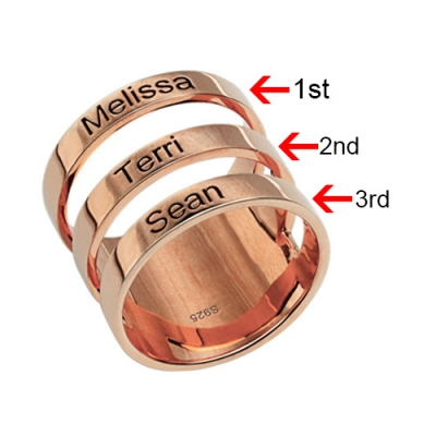 Rose Gold Bewitching Mother's Engraved Three Names Ring