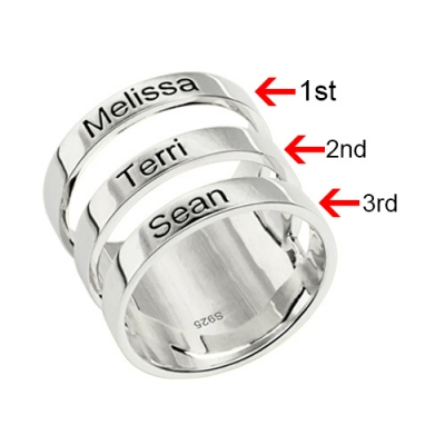 Sterling Silver Decent Mother's Engraved Three Kids Names Ring
