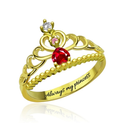 Gold Plated Ideal Fairytale Princess Tiara Birthstone Engraved Ring