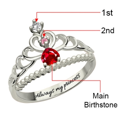 Sterling Silver Amazing Fairytale Princess Tiara Birthstone Ring