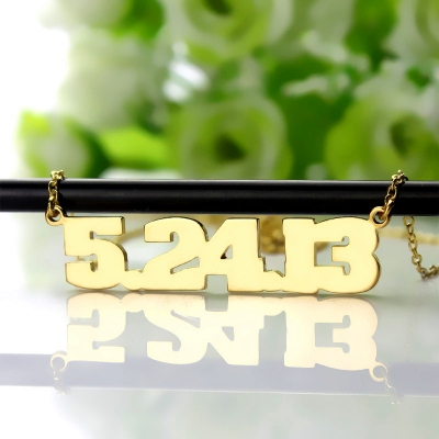 Gorgeous Personalized Solid Gold Striking Lucky Number Necklace