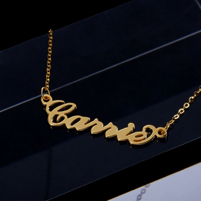 Solid Gold 10K/14k/18K Personalized Glorious Carrie Name Necklace