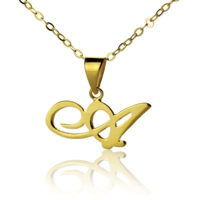 Attractive 10K/14k/18k Solid Gold Christina Applegate Initial Necklace