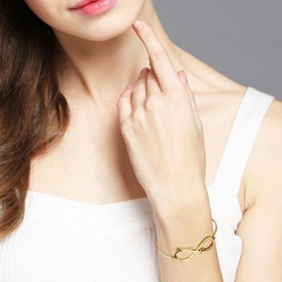 Gold Plated Taintless Custom Infinity 2 Names Bangle