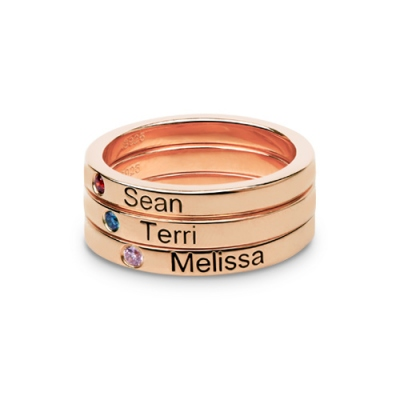 Rose Gold Stylish Birthstone Mother's Stackable Name Ring