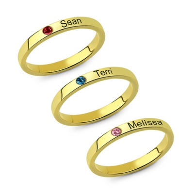 Gold Plated Graceful Birthstone Mother's Stackable Name Ring