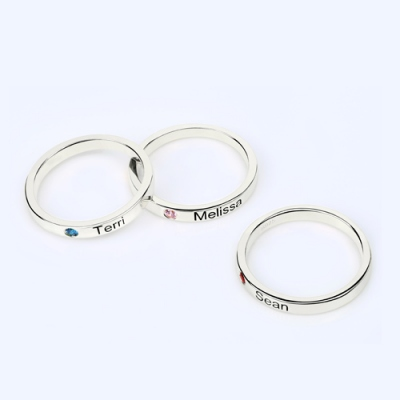 Classic Sterling Silver Mother's Stackable Name With Birthstone Ring