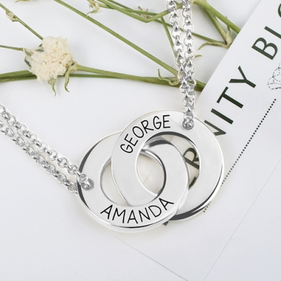 Engraved Exquisite Sterling Silver Interlocking Two Names Circle Necklace