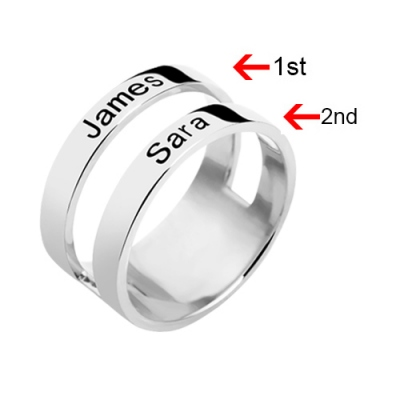 Customized Sterling Silver Magnificent Engraved Two Names Ring