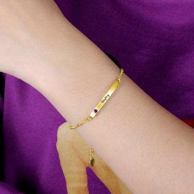 Splendid Gold Plated 4 Sided Personalised Birthstone Bar Name Bracelet