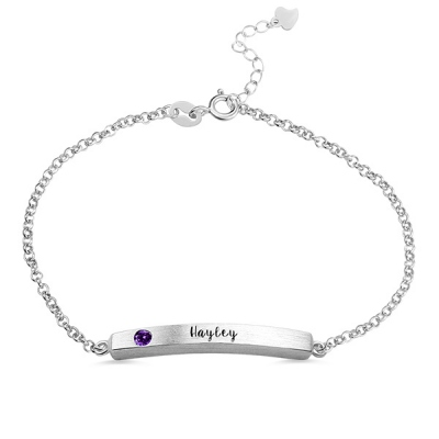 Impressive Sterling Silver 4 Sided Personalised Birthstone Bar Name Bracelet
