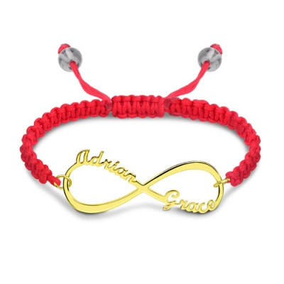 Gold Plated Personalized Incredible Infinity 2 Names Cord Bracelet