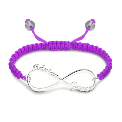 Personalized Fantastic Sterling Silver Infinity 2 Names Cord Bracelet