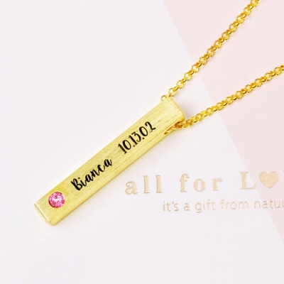 Gold Plated Graceful Engraved 4-Sided Bar Name With Birthstones Necklace