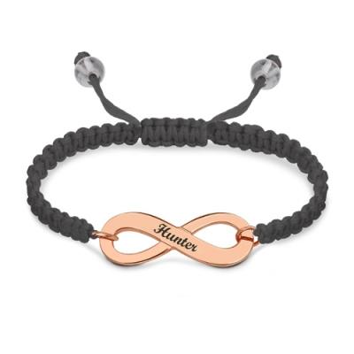 Rose Gold Lovely Engraved Infinity Symbol Cord Bracelet