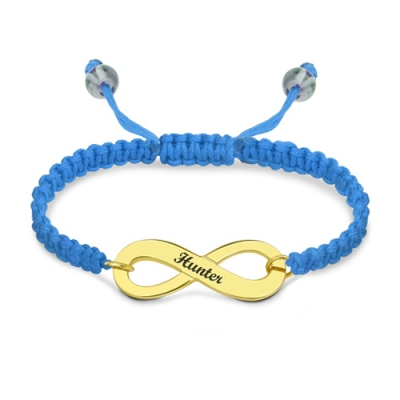Adorable Engraved Gold Plated Infinity Symbol Cord Bracelet