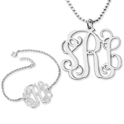 Fashionable Sterling Silver Personalized Monogram Bracelet & Necklace Set