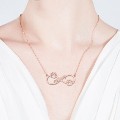 Rose Gold Cute Infinity Dog Paw Name Necklace