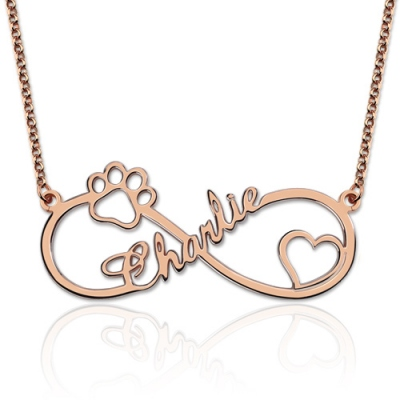 Customized Magnificent Rose Gold Infinity Paw Print Name Necklace