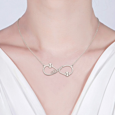 Sterling Silver Customized Breathtaking Infinity Baseball Name Necklace