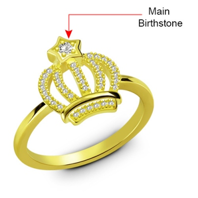 Superb Gold Plated Sparkle Birthstone Exquisite Crown Ring