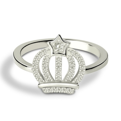 Sumptuous Platinum Plated Silver Sparkle Birthstone Crown Ring