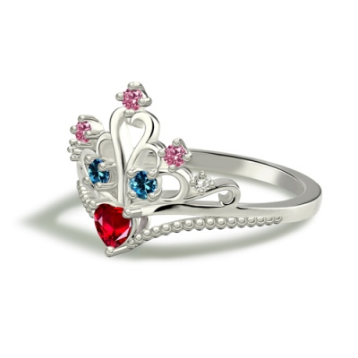 Attractive Platinum Plated Multi-Stone Princess Crown Ring