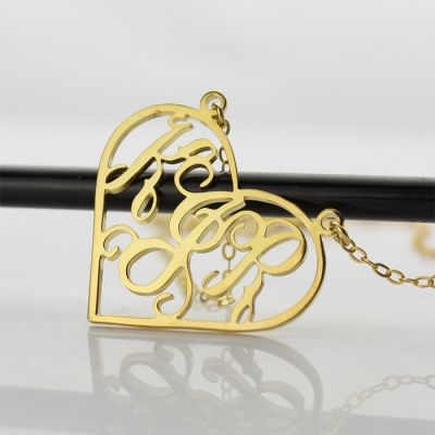 Attractive Solid Gold Initial Personalized Heart Monogram Necklace