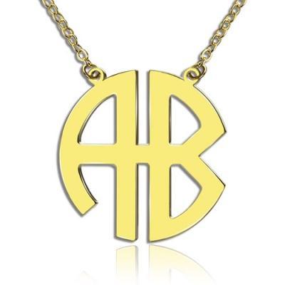 Solid Gold Exquisite Two Initial Block Monogram Pendant