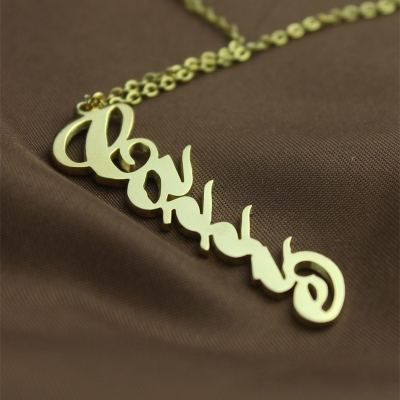 Chic Solid Gold Personalized Vertical Carrie Style Name Necklace