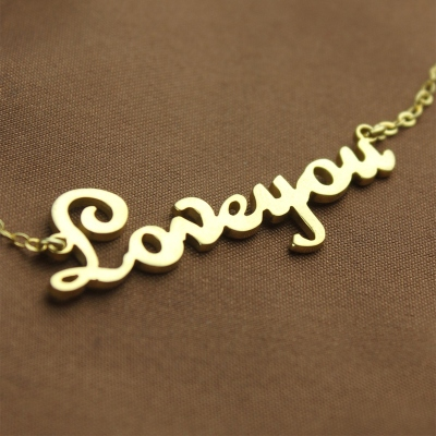 Glamorous Personalized Solid Gold French Font I Love You Name Necklace