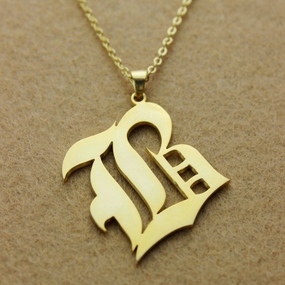 Solid Gold Magnificent Old English Style Single Initial Name Necklace