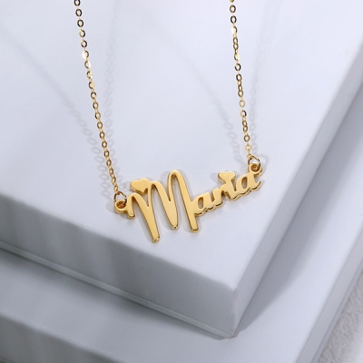 Lovely Personalized Solid Gold Fiolex Girls Font Heart Name Necklace
